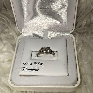 1/3 Carat T.W. Diamond Flower Square Promise Ring